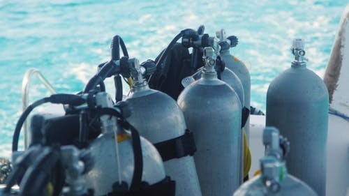 Cylinders With Compressed Air For Diving