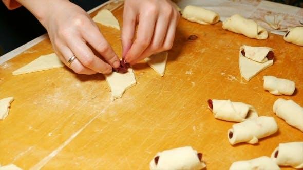 Thumbnail for Baker Cooks Diy Croissants In Hand Made Bakery