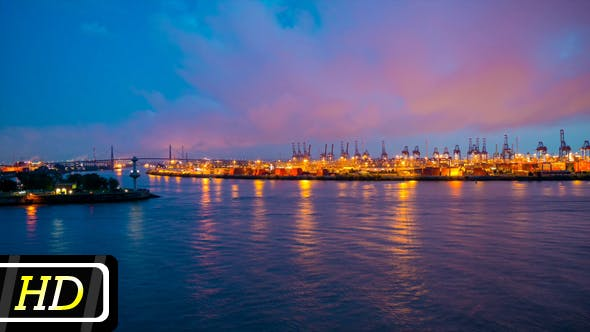 Thumbnail for Hamburg Harbor in the Evening