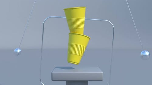 Yellow Plastic Cups 3d Podium Modern Scene Interior Able to Loop Seamless