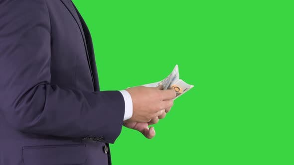 Thumbnail for Businessman Is Counting Money Euros on a Green Screen, Chroma Key.