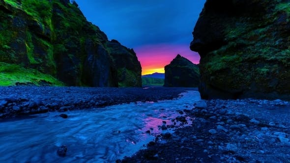 Thumbnail for . Sunset On The River In The Valley Thorsmork (Thorsmörk) - Laugavegur Hiking Trail. Iceland, 15