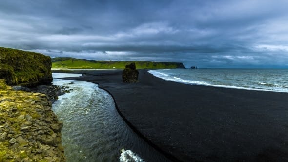 Thumbnail for A Beautiful Black Sand Beach Reynisdrangar - Basalt Columns