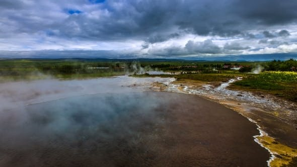 Thumbnail for . Geysir Strokkur - The Second Largest And Most Active Geyser In Iceland Haukadalur Valley. Iceland