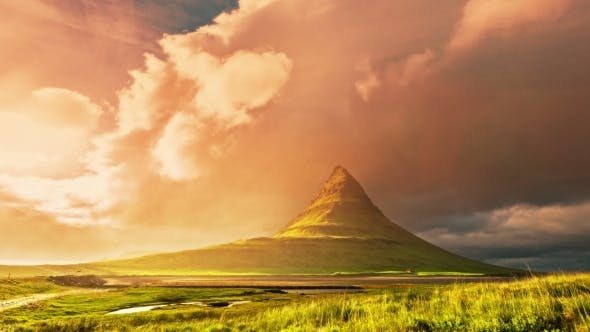Kirkjufell - Mountain In The Western Part Of Iceland, Located Near Grundarfjordur. Sunset