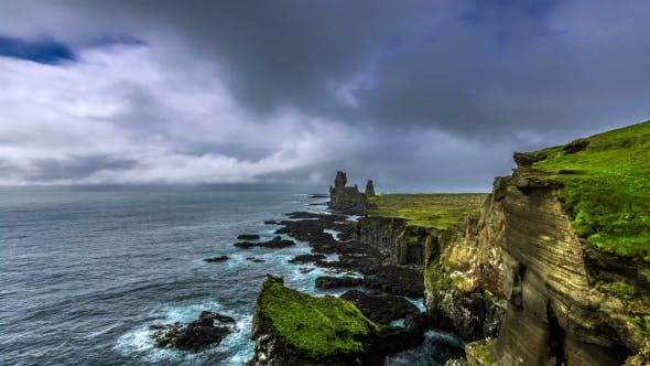 Cover Image for Waves Ocean Breaking On The Unique Basalt Crags Londrangar