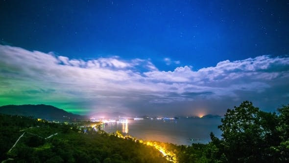 Thumbnail for Night Panoramic Sea And City Views From The Viewpoint, Koh Samui, Thailand