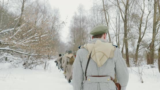 Men Dressed As White Guard Soldiers Of Imperial Russian Army In Russian Civil War Times Marching