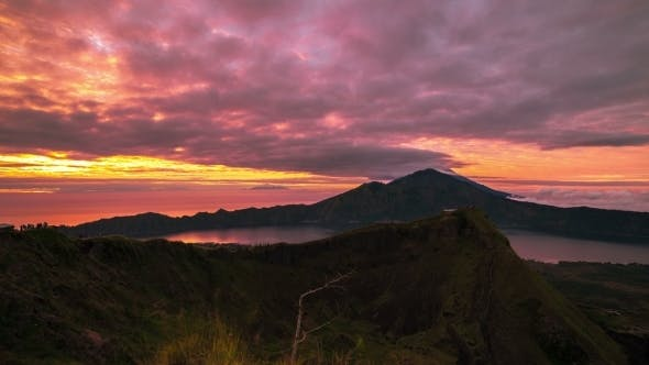 Thumbnail for Sunrise On The Volcano Batur Overlooking Lake Batur. 15 July 2015, Bali, Indonesia