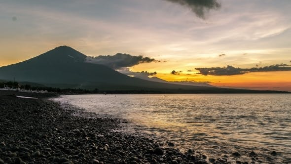 Thumbnail for Sunset in Ocean And The Volcano Gunung Agung in Bali, Indonesia