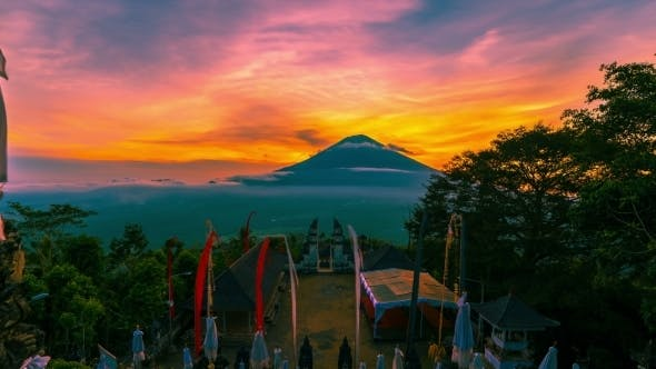 Thumbnail for Sunset On The Background Volcano Gunung Agung in Bali, Indonesia