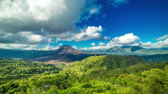 Cover Image for Panoramic Views Of Volcano Gunung Batur in Bali, Indonesia