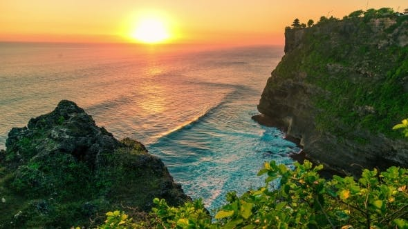 Thumbnail for Sunset In The Indian Ocean On The Background Of The Temple Of Uluwatu. 15 July 2015, Bali
