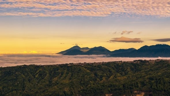 Thumbnail for Panorama Of The Mountains Covered With Clouds in Bali, Indonesia