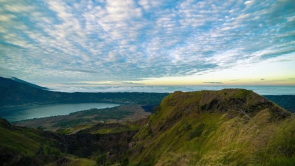 Cover Image for . Batur Volcano Crater Overlooking Lake Batur. 15 July 2015, Bali, Indonesia