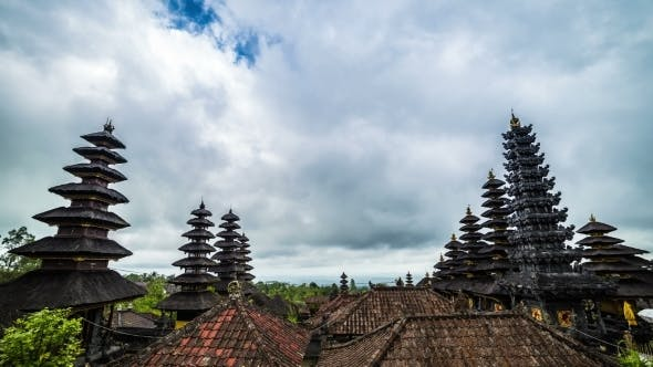Cover Image for Mostly Cloudy Over The Temple Pura Besakih in Bali, Indonesia