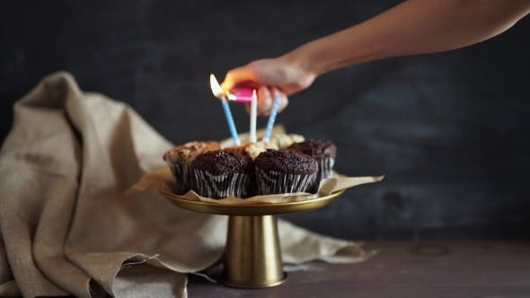 Thumbnail for Tasty Birthday Cupcake With Candle, On Grey Background