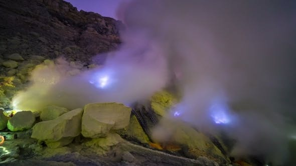 Thumbnail for Blue Flame of Gas in The Crater Volcano Ijen in Java, Indonesia