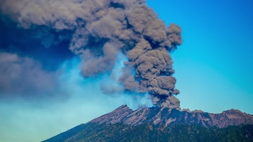 Eruptions Raung Volcano, Camera in East Java, Indonesia