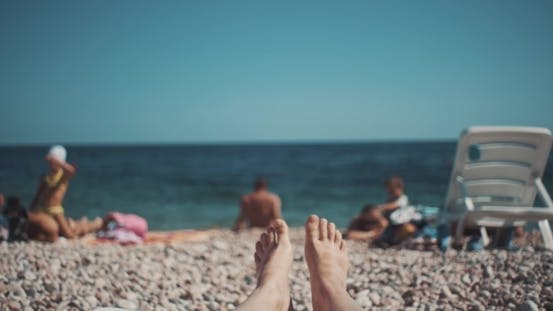 Thumbnail for Woman Feet  Of Girl Relaxing On Beach