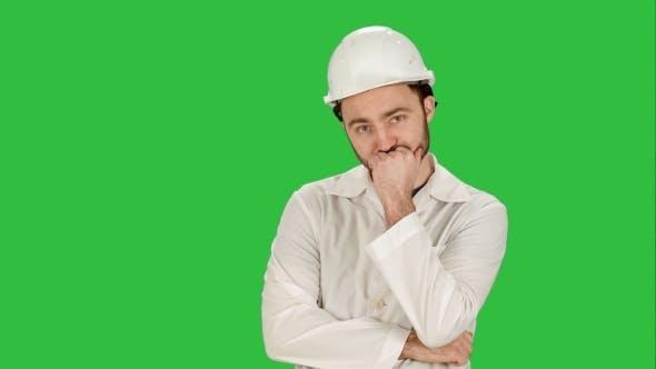 Frustrated Workman In Helmet