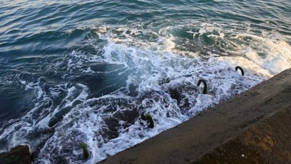 Thumbnail for Waves Beat Against The Rocky Shore. Crimea, Russia