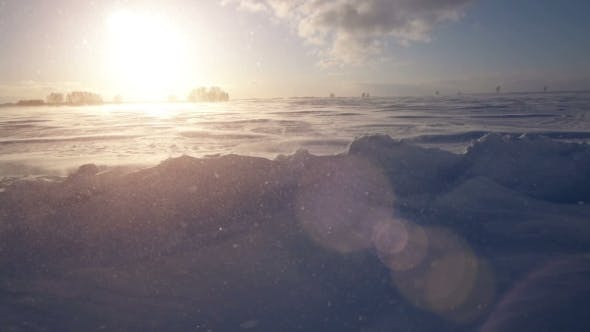 Thumbnail for Snowstorm, Wind And Sun. Cold Arctic. Frozen Snow Drifts.
