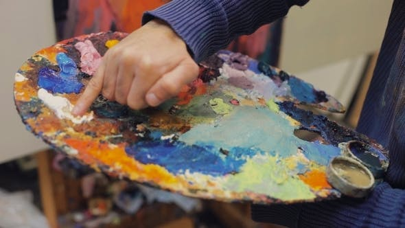 Thumbnail for Artist Brush Mix Color Oil Painting On Palette Is Holding In His Hand