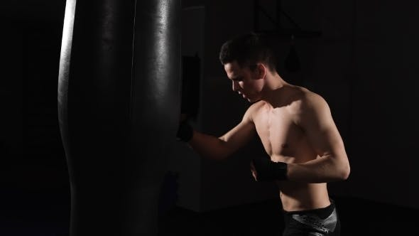 Thumbnail for Self-defense. Young Muscular Athlete Fulfills Blows. Boxing.