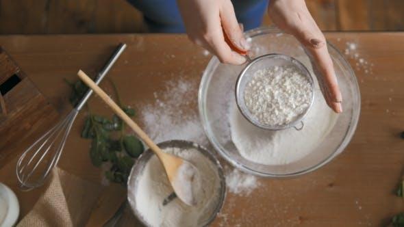 Baking Cake In Kitchen, Flour Shake