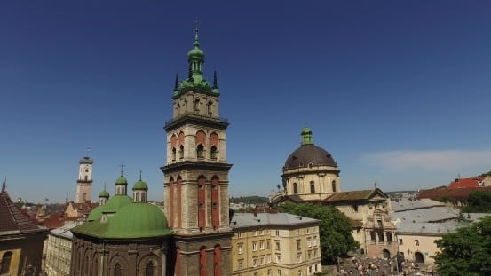 Thumbnail for Lviv Roofs And Streets Aerial View, Ukraine Dominican