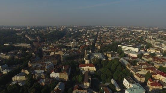 Thumbnail for Aerial Old City Lviv, Ukraine. Central Part Of Old City.  Town Hall. Lviv Doroshenka Street