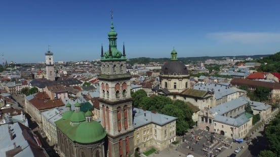 Thumbnail for Lviv Morning Roofs And Streets Aerial View, Ukraine