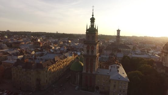 Thumbnail for Aerial Old City Lviv, Ukraine European City