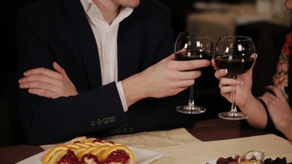 Thumbnail for Happy Couple Have a Romantic Date In a Fine Dining Restaurant They Drink Wine