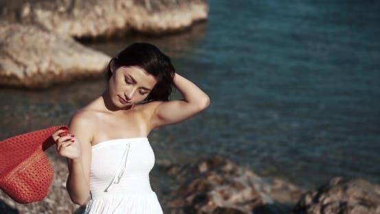 Thumbnail for Young Brunette Woman Walking Along The Sea, Crimea, Summer