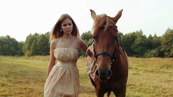 Thumbnail for Girl With a Brown Horse In a Meadow