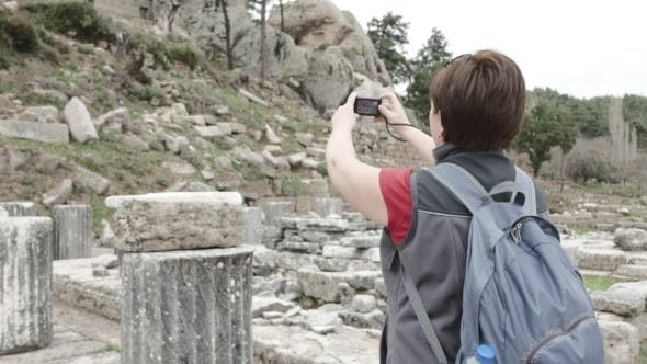 Thumbnail for Tourist Photographing Ruins of Ancient Temple