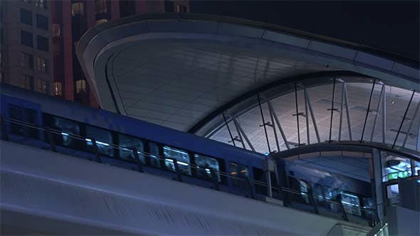 Thumbnail for Metro Train Arrives to Station