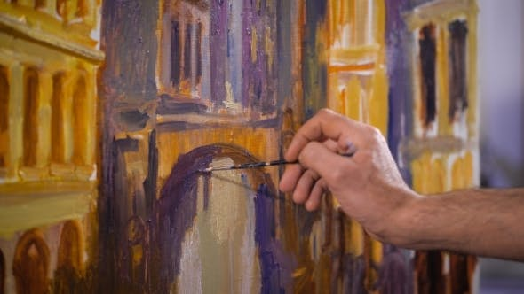 Thumbnail for Creation. Artist Painting Brush On Canvas. Working In Oils.