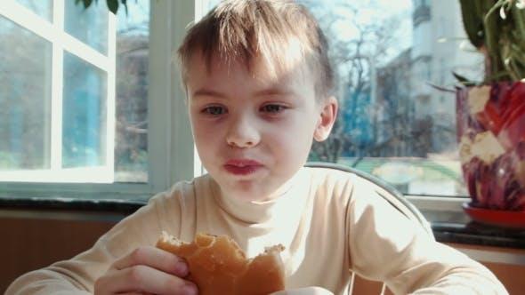 Thumbnail for Boy Eating Hamburger In Fast Food Restaurant