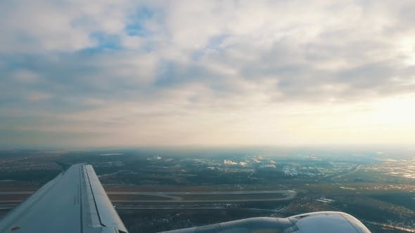 Thumbnail for Airplane Is Take off Above The City
