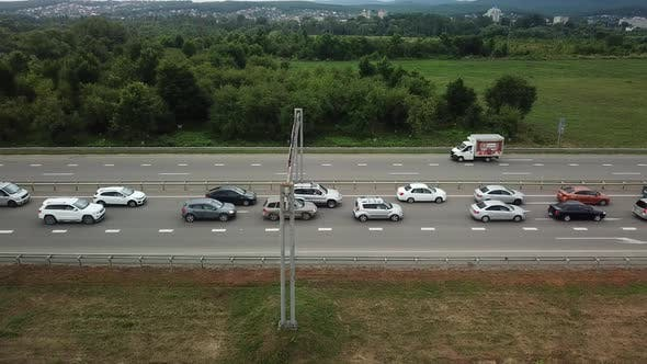 Thumbnail for View From Above of Freeway Busy Rush Hour Heavy Traffic Jam Highway