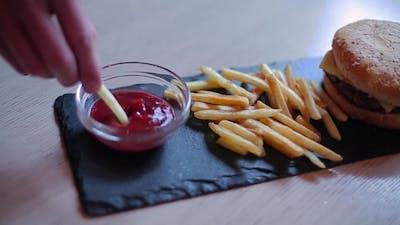 Guy Puts Fries In Ketchup