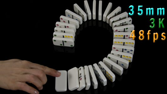 Thumbnail for Human Hands Play With White Domino At Table