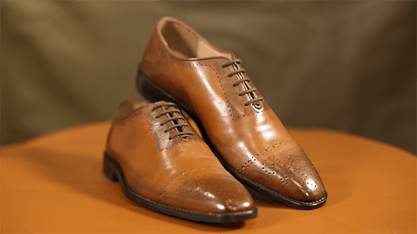 Thumbnail for 3 Pairs of Brown Leather Shoes on Display