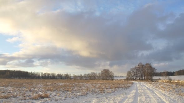 Thumbnail for Winter Road. Beautiful Winter Nature