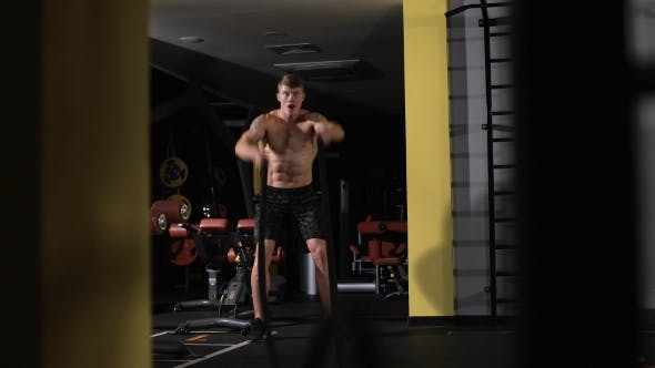 Thumbnail for Fitness Battling Ropes At Gym Workout Fitness Exercise