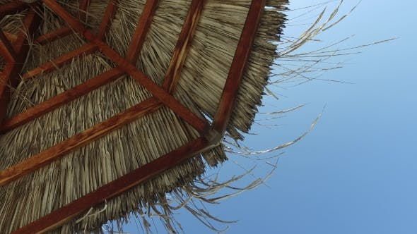 Thumbnail for Palapa Or Bungalow Straw Shed Over Blue Sky
