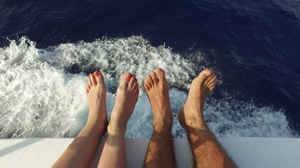 Thumbnail for Feet On Deck Of Sailboat Or Yacht Sailing In Sea 1